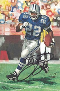 Emmitt Smith Autographed/Signed Dallas Cowboys Goal Line Art Card Black 21669 - NFL Autographed Football Cards