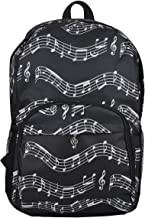 Oxford Musical Notes Print Backpack for School Boys Girls Stylish Art Bookbags (Musical Notes Patterns Black)