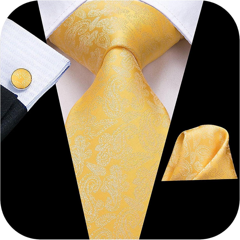 Shop 1994 Silk Men Tie Set Floral Yellow Gold Ties And Handker Cufflinks Men's Wedding Party Suit Fashion Neck