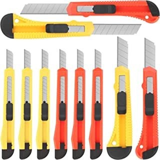 10Pack Box Cutters Assorted Sizes (9MM /18MM Wide Blade Cutter) Utility Knife Exacto Knife Retractable, Compact, Extended ...