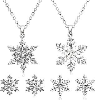 PHALIN Snowflake Necklace Earrings for Women Girls Holiday Crystal Snowflake Pendant Necklace Christmas Snowflake Stud Ear...