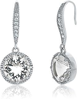 Montage Jewelry Women's Circle Shape Cubic Zirconia & Sterling Silver Dangle Earrings