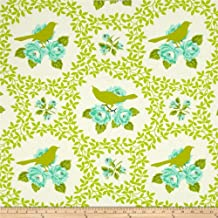 Mockingbird Chartreuse from the Up Parasol collection by Heather Bailey for FreeSpirit Fabrics - Green Bird Flowers (Yard)