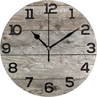 Wall Clock Old Barn Wood Rustic Round Acrylic Clock Black Large Numbers Silent Non-Ticking 9.45