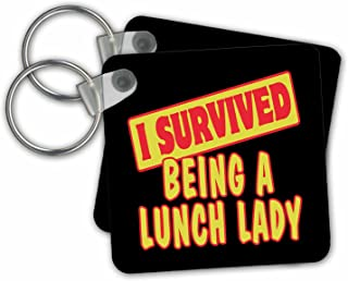 3dRose I Survived Being a Lunch Lady Survival Pride Key Chains, 2.25 x 2.25, Set of 2 (kc_117781_1)