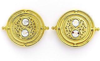 Pendientes oficiales de Harry Potter Time Turner de plata de ley, chapados en oro, adornados con cristales Swarovski® de T...