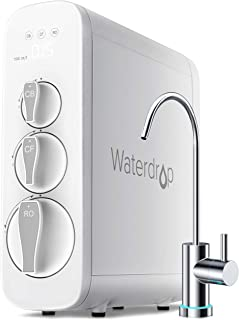 Waterdrop RO Reverse Osmosis Water Filtration System, TDS Reduction, 400 GPD Fast Flow, Tankless, Smart Faucet, UL Listed Power Cord, 1: 1 Drain Ratio, USA Tech Support
