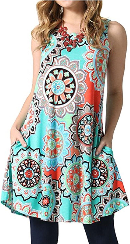POGTMM Women's Summer Sleeveless Geometric Print Pocket Loose TShirt Dress(Light bluee,S)