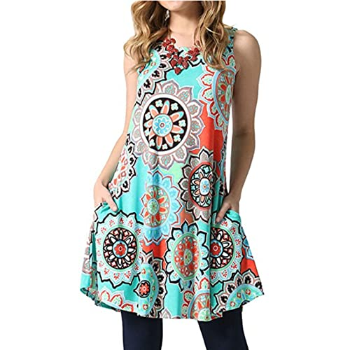 06bb2cb0cd8b SimpleFun Women s Summer Sleeveless Bohemian Print Tunic Swing Loose  Pockets T-Shirt Dress