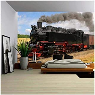 wall26 - Steam Train with Black Smoke Running on Island Rugen, Northern Germany - Removable Wall Mural   Self-Adhesive Large Wallpaper - 66x96 inches