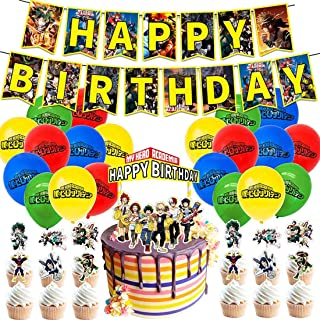 My Hero Academia Party Supplies, Birthday Decorations Set Including Balloons, Banner, Cake Toppers, Cupcake Toppers for MH...