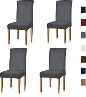Xflyee Stretch Dining Room Chair Covers Jacquard Removable Washable Kitchen Parson Slipcovers Set Of 4