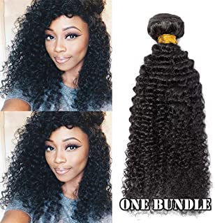 SEGO 6A Virgin Hair Bundles Sew in Hair Extensions Kinky Curly 100% Unprocessed Brazilian Human Hair Weave Hair Weft Extensions for Women #1B Natural Black 20 Inch