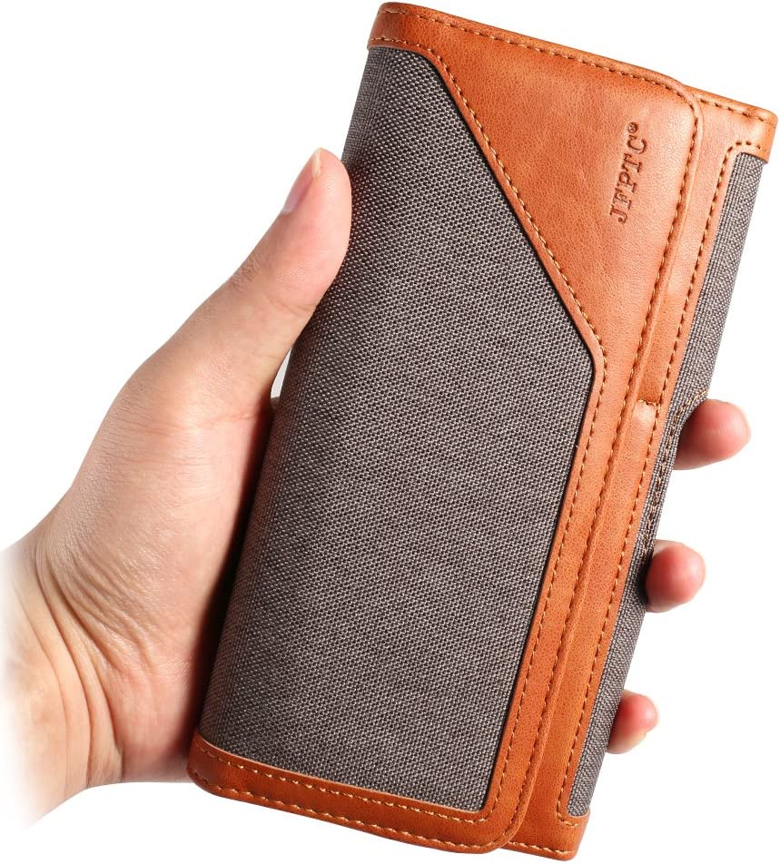 Universal Denim Cellphone Belt Holster Horizontal Case Compatible for Apple iPhone 12 Pro Max / Samsung Galaxy S21 S20 A52 A51 / OnePlus 9 8T / Huawei P40 Pro / Moto E / G Power / LG Stylo 5 (Grey)