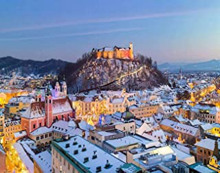 MQPPE Landscape 5D DIY Diamond Painting Kits, Ljubljana for Christmas Holidays Roofs in Snow Winter Time Slovenia Full Dri...