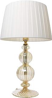 Planetes: lámpara de mesita de noche elegante de cristal soplado con pantalla de color marfil hecha a mano y acabados en oro de 24 quilates