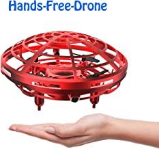 DaycMy Mini UFO Drone Toys for Kids Hand-Controlled UFO Flying Ball Drone with Led Light for Kids, Boys and Girls Toys(Red)