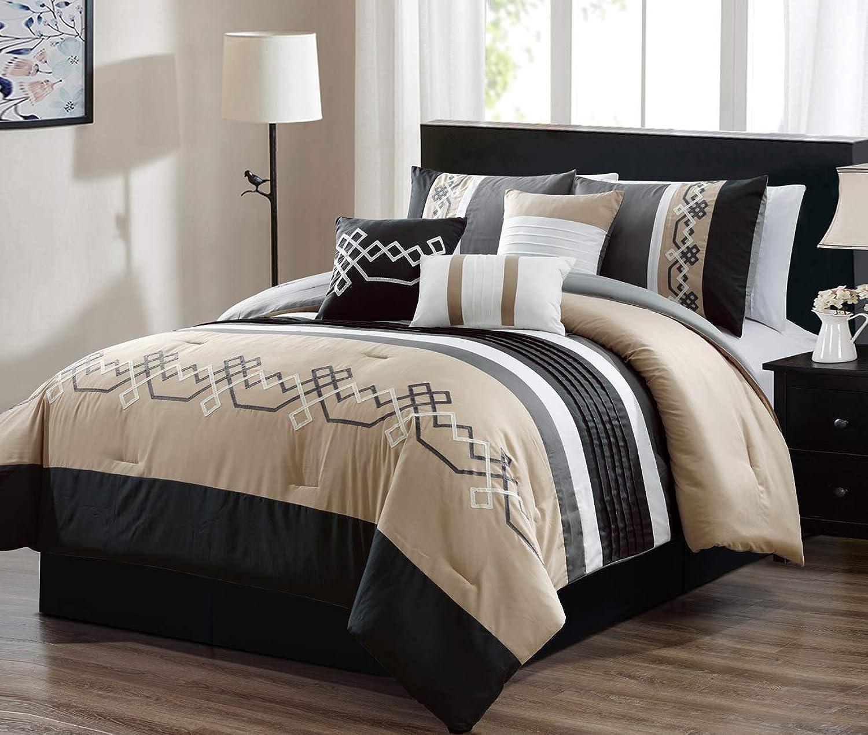 JBFF 7 Piece Oversized Luxury Embroidery Bed in Bag Microfiber Comforter Set Black Tan (Cal King)
