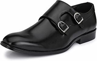 HiREL'S Men's Double Monk/Hand Crafted/Cap Toe Collection/Hand Made Sole/Burnish Effect/Formal Shoes