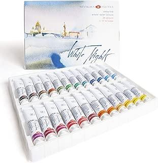 Honsell 11227 White Nights Künstler - Pintura para acuarelas (10 ml), color blanco, carbón, 24er