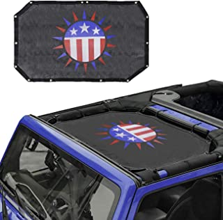 JK Sunshade Mesh Bikini Top US Flag Cover Provides UV Sun Protection for Jeep Wrangler JK JKU (2007-2017) All 2 Door or 4 Door (Sun American Flag)