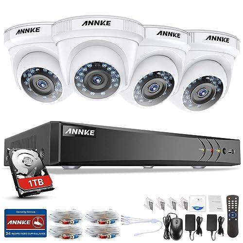 ANNKE Kit Sistema de Seguridad CCTV Cámara de vigilancia Luz de estrella 4CH 3MP H.