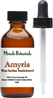 Miracle Botanicals Wildcrafted Amyris - West Indian Sandalwood Essential Oil - 100% Pure Amyris Balsamifera - Therapeutic Grade - 60ml/2oz