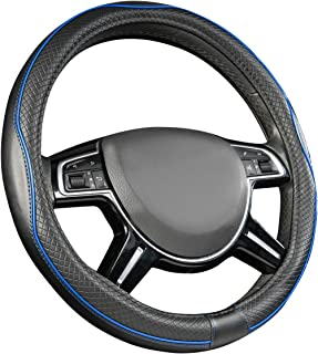 AmazonBasics Leatherette Steering Wheel Cover, 15″, Black and Blue