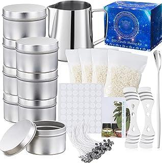 Kit de Fabrication de Bougies de Cire Bricolage,Kit Fabrication Bougies Parfumées,50 mèches de Bougie,8 boîtes de Pots,Bou...