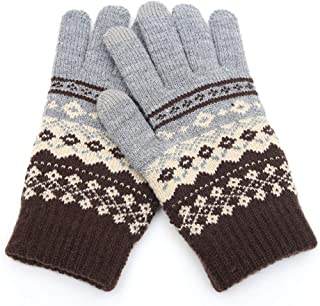 BALABA◕。Women Ladies Winter Warm Thermal Fleece Gloves Thicken Floral Print Cable Knit Gloves Mitten