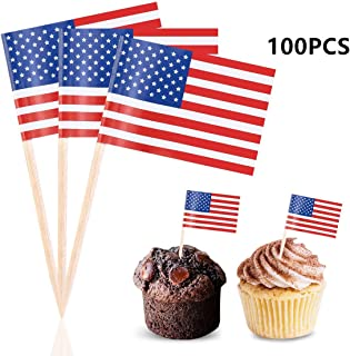 Efivs Arts American Flag 4th of July Independence Day Thanksgiving Day Cupcake Toppers Picks for Party Decorations Supplies, Toothpicks Flags, 100 Counts