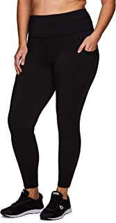 RBX Active Women's Plus Size Full Length Athletic Running Yoga High Waist Fleece Lined Leggings with Pockets