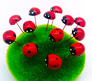 Tyga_Thai Brand Set 5 pcs. Terrarium Mini Ladybug Red Color Stake Miniature Dollhouse Fairy Garden Accessories (Terrarium-Ladybug-Stake-RED)