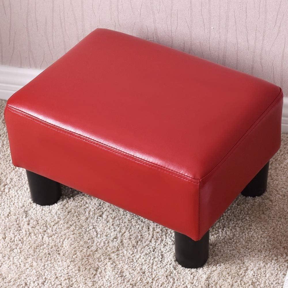 WEIZI Petit Repose-Pieds Ottoman Repose-Pieds en Cuir PU Tabouret de siège rectangulaire Portable Blanc Rouge Moderne Maison canapé Chaise (Blanc) Red