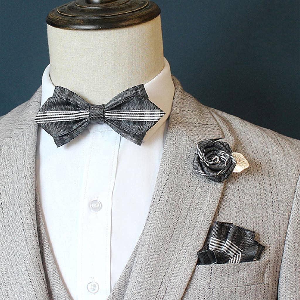 GPPZM Men's Bow Tie Suit Suit Pocket Square Rose Flower Brooch Wedding Groom Groomsmen Bow Tie Korean Collar Flower (Color : C)