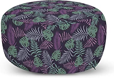 Lunarable Tropical Ottoman Pouf, Hawaiian Party Pattern with Various Exotic Leaves in Abstract Colors, Decorative Soft Foot Rest with Removable Cover Living Room and Bedroom, Eggplant and Multicolor