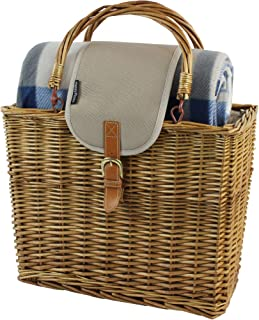 Willow Picnic Cooler Basket with Picnic Blanket and Insulated Cooler,Foldable Handle Wicker Hamper with Real Leather and Aluminum Insulate Bag (Honey)