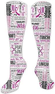 TongGuYunShangMaoYouXianGongSi, Calcetines Altos ~ Calcetines coloridos divertidos rosados de la tela de la gimnasia de las mujeres Calcetín 50CM