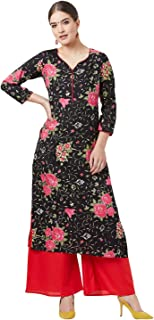 Tissu Women's Black & Pink Printed Kurta With Palazzos