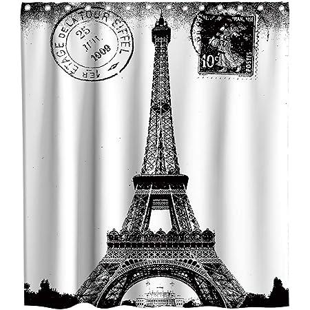 "ROMANTIC VINTAGE PARIS THEMED BLACK AND WHITE BATHROOM SHOWER CURTAIN 70/""X72/"""