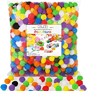 Caydo 1000 Pieces 1 inch 20 Colors Pompoms Arts and Crafts Pom Poms Ball for Christmas DIY Creative Crafts Decorations