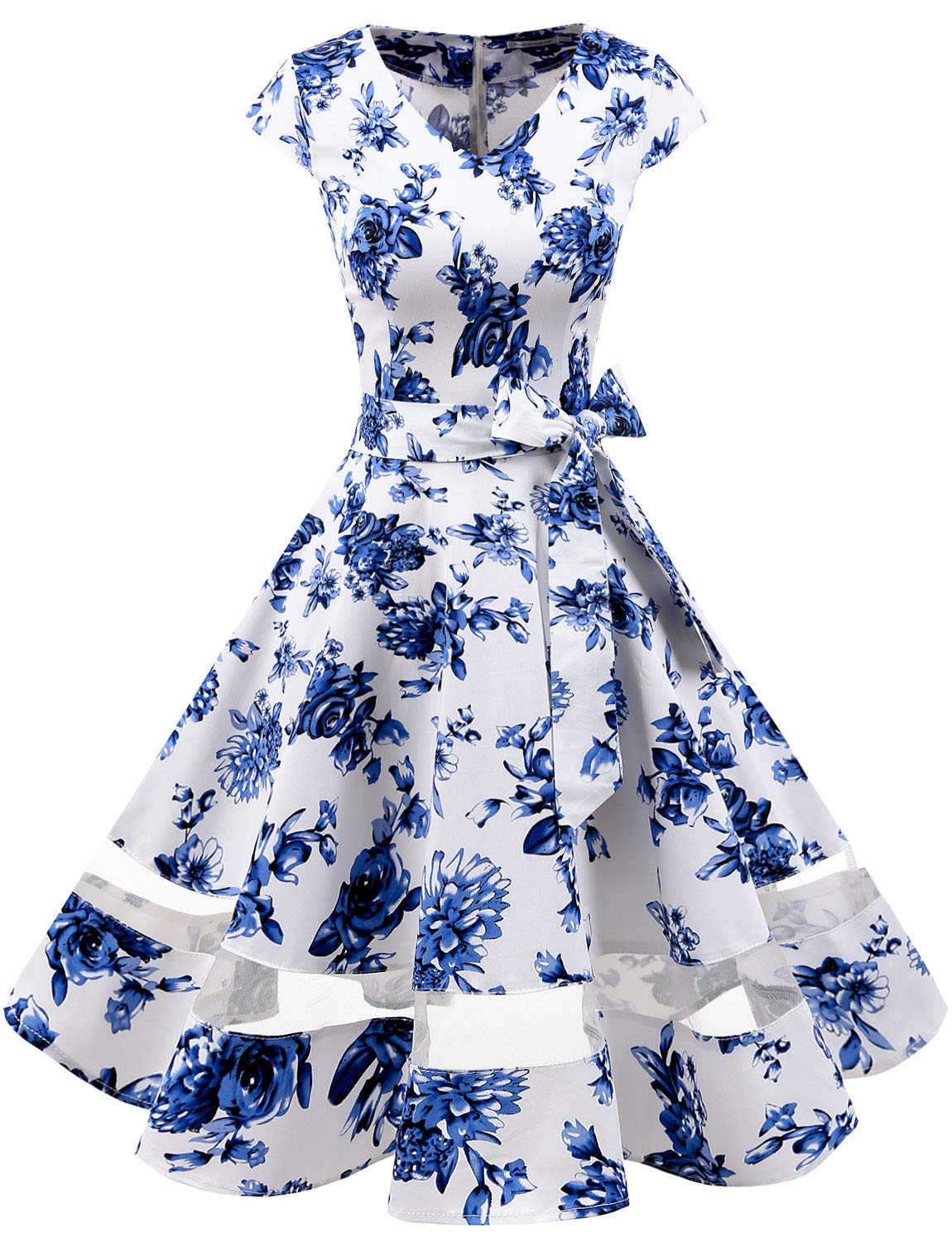 Available at Amazon: Gardenwed Women's 1950s Rockabilly Cocktail Party Dress Retro Vintage Swing Dress Cap-Sleeve V Neck