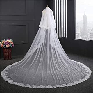 Wedding Veil,Bridal Veil Soft Veil Lace veil Embroidery Romantic over 3M long tail Elegant 2-Tier Tulle Wedding Veil with Metal Comb