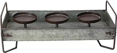 "15"" Rustic Galvanized Metal Triple Christmas Pillar Candle Holder Tray"