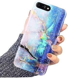 DICHEER iPhone 8 Plus Case,iPhone 7 Plus Case Cute Opal Marble for Women Girls,Clear Bumper Glossy TPU Silicon Rubber Soft Cover Anti Scratch Protective Phone Case for iPhone 7 Plus iPhone 8 Plus