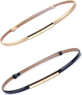 【CaserBay】Women Dress Fashion Skinny Patent Leather Belts Adjustable Thin Waist Belt Gold Solid Color Plaque Buckle Waistband