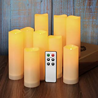 """Pensar Flameless Candles Battery Operated Candles Set Of 9(H 5""""5""""6""""6""""6""""7""""7""""7""""7"""") Led Candles With Remote Waterproof Outdoor Indoor Candles(Battery Not Included)"""