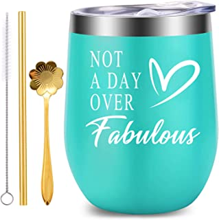 Not a Day Over Fabulours, WONDAY Wine Tumble-Wine Cup with 12 OZ Stainless Steel Stemless Double Wall with Lid, Great Birthday Gifts Ideas for Women Mother BFF Best Friends Wife Daughter Sister