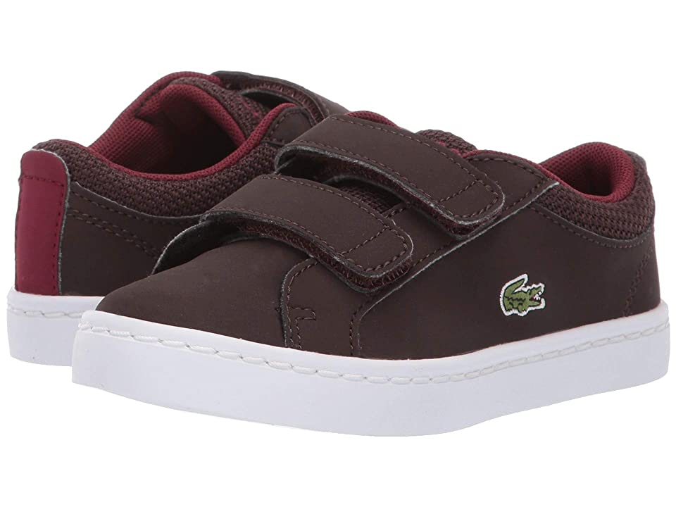 Lacoste Kids Straightset (Toddler/Little Kid) (Dark Brown/Dark Red) Kids Shoes