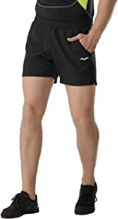 MIER Men's 5 Inches Running Shorts Quick Dry Lightweight Workout Track Shorts with Pockets, No Liner, Black